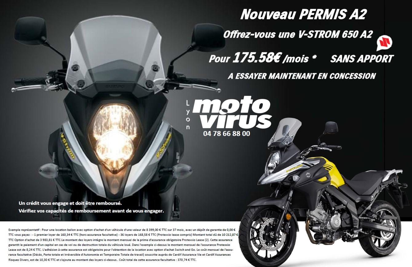 Permis A2 essai moto // Lyon A2 essai // vstrom 650 A2 essai DISPONIBLE À L'ESSAI -- PERMIS A2
