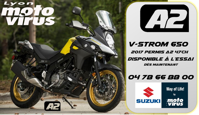 Permis A2 essai moto // Lyon A2 essai // vstrom 650 A2 essai SUZUKI A2 ESSAI MOTO